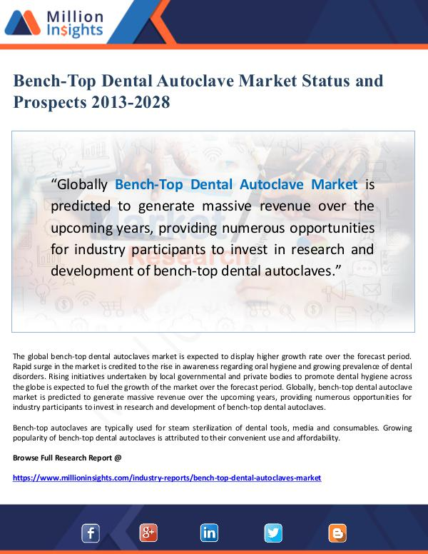 Global Research Bench-Top Dental Autoclave Market Status and Prosp