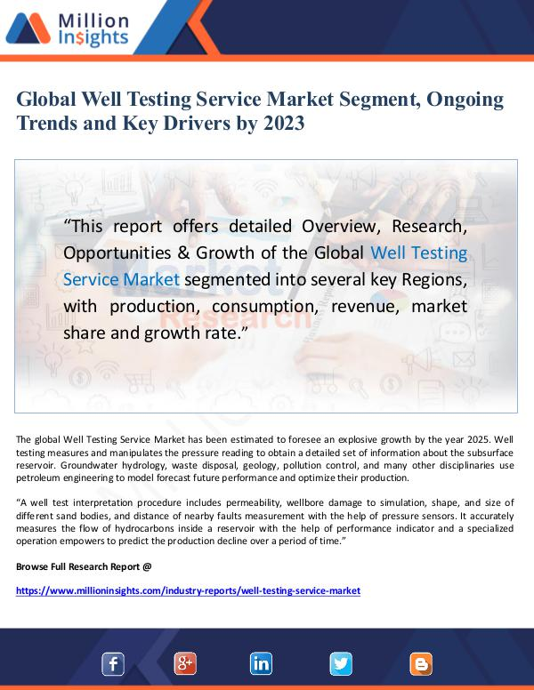 Global Well Testing Service Market Segment, Ongoin