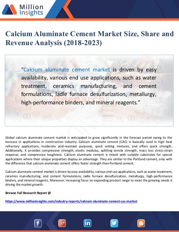 Global Research Calcium Aluminate Cement Market Size, Share and Re