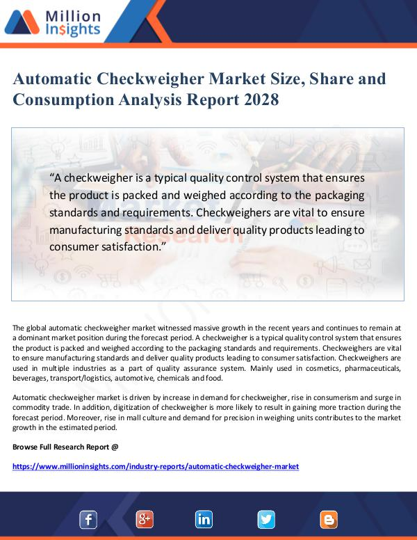 Global Research Automatic Checkweigher Market Size, Share and Cons