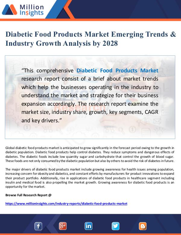 Market Giant Diabetic Food Products Market Emerging Trends & In
