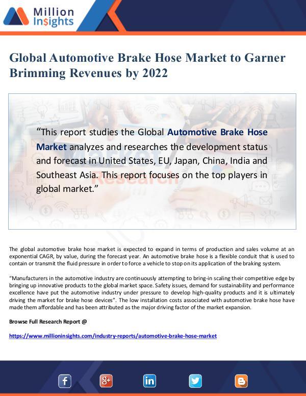 Global Automotive Brake Hose Market to Garner Brim