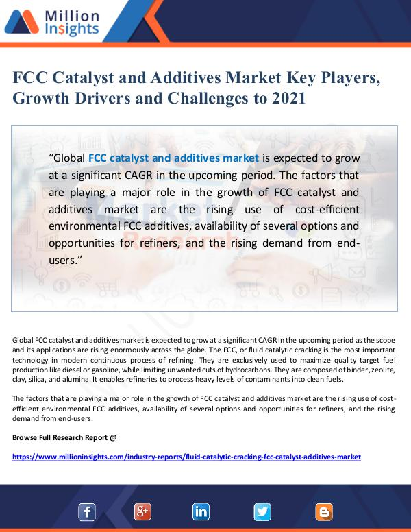 Market Giant FCC Catalyst and Additives Market Drivers and Outl