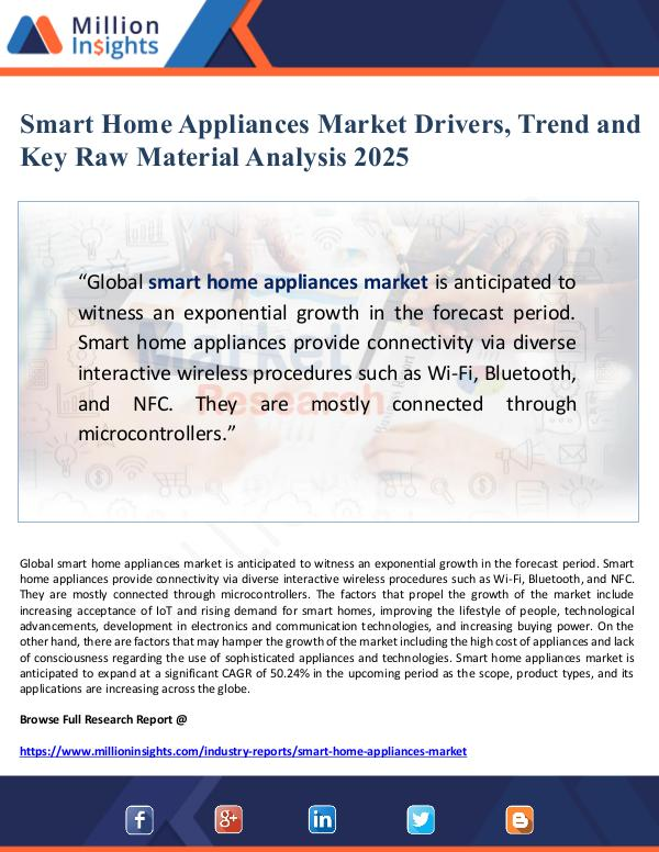 Smart Home Appliances Market Drivers and Key Raw M