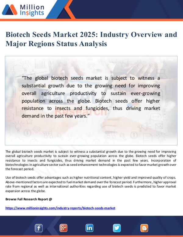Biotech Seeds Market Overview and Status Analysis