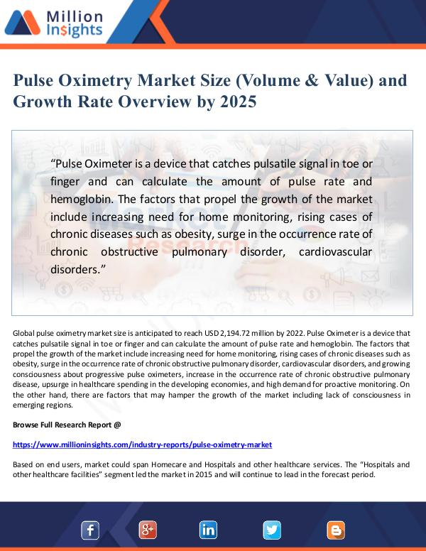Pulse Oximetry Market Size and Growth Rate  by 202