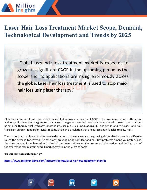 Laser Hair Loss Treatment Market Scope and Demand