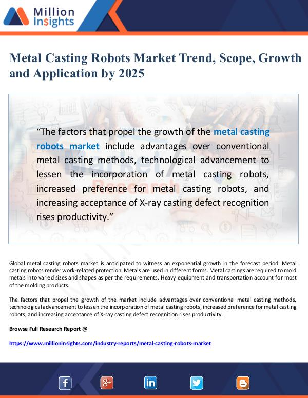 Metal Casting Robots Market Scope and Application