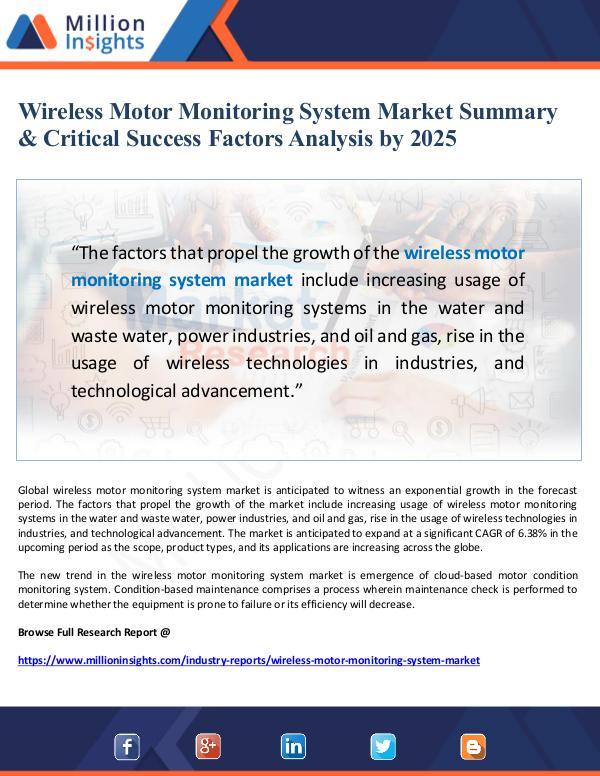 Wireless Motor Monitoring System Market Summary an