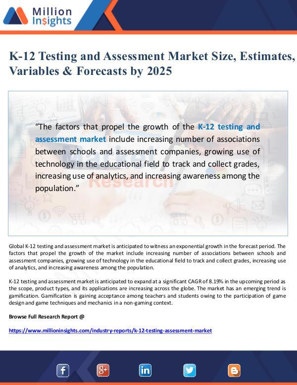 K-12 Testing and Assessment Market Size & Forecast