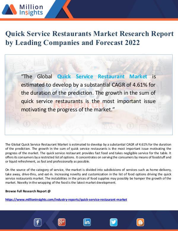 Quick Service Restaurants Market Research Report t