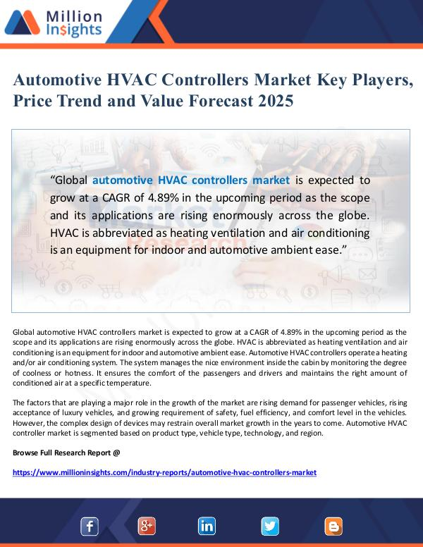 Global Research Automotive HVAC Controllers Market Value Forecast