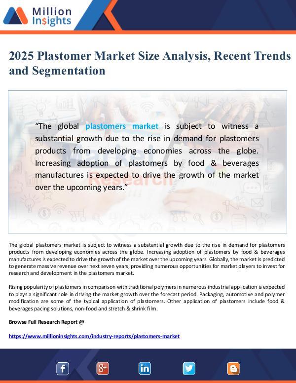 Plastomer Market 2025 Size Analysis, Recent Trends
