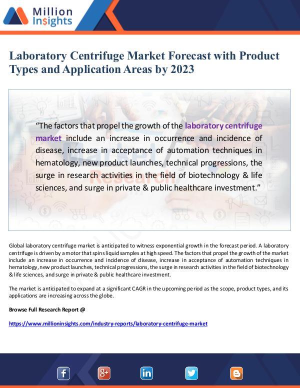 Laboratory Centrifuge Market Forecast by 2023