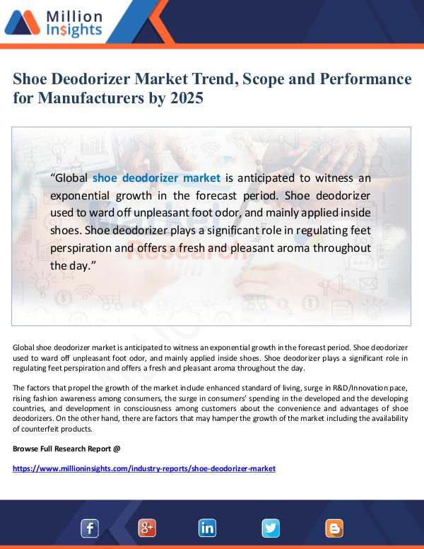 Market Giant Shoe Deodorizer Market Performance for Manufacture