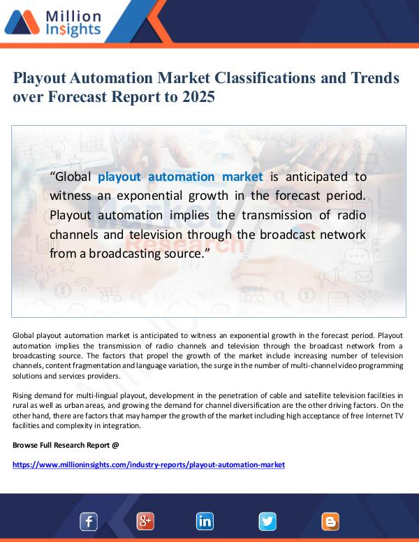 Playout Automation Market Classification and Forec