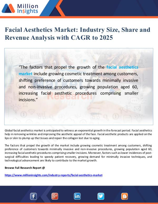 Facial Aesthetics Market Size and Share to 2025