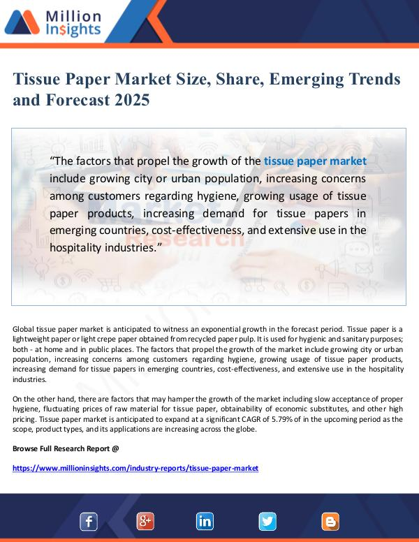 Tissue Paper Market Size, Share and Forecast 2025