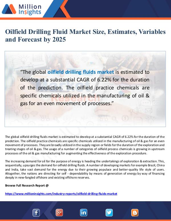 Oilfield Drilling Fluid Market Estimates and Varia