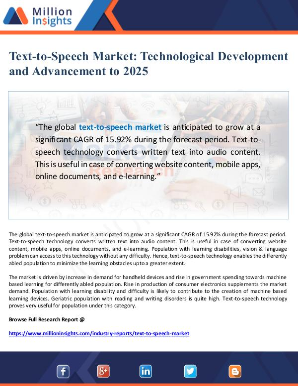 Global Research Text-to-Speech Market Technological Development  a