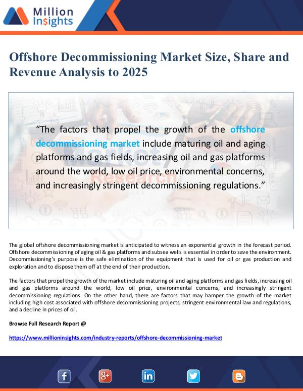 Offshore Decommissioning Market Size, Share and Re