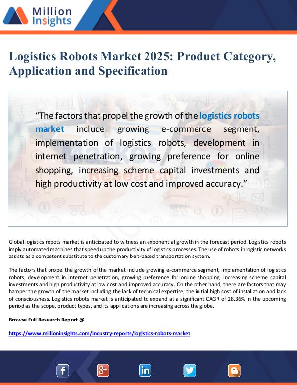 Logistics Robots Market Application and Specificat
