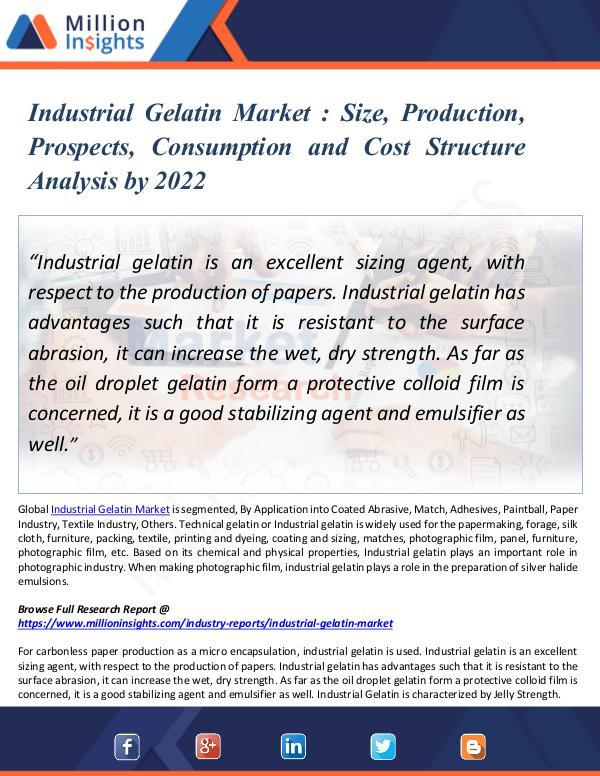 Market Updates Industrial Gelatin Market Size and Production 2022