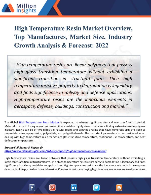 Market New Research High Temperature Resin Market Overview Report 2022