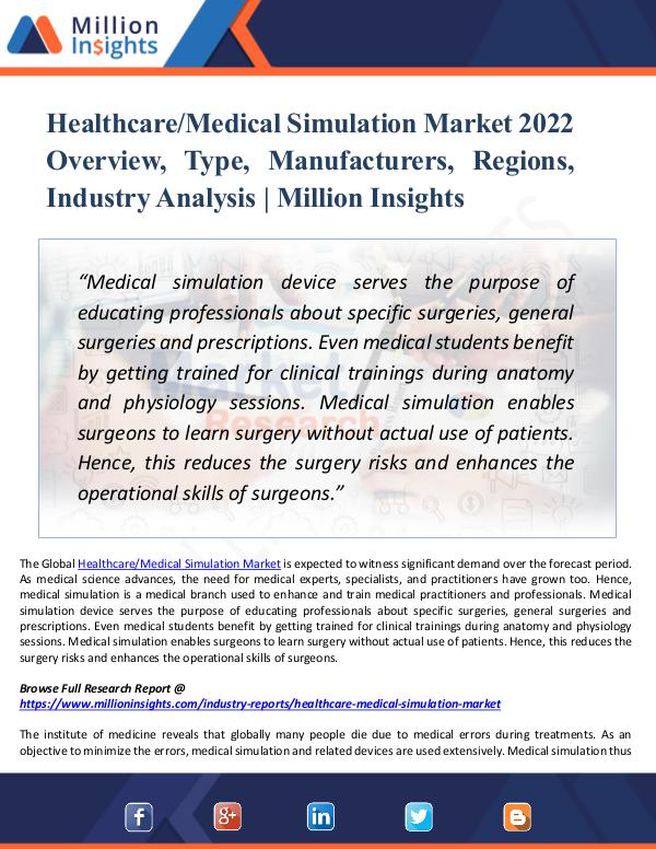 Market New Research Healthcare-Medical Simulation Market 2022 Report