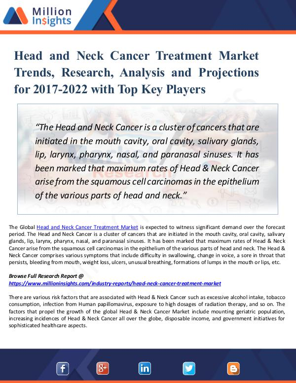 Market New Research Head and Neck Cancer Treatment Market Trends 2022