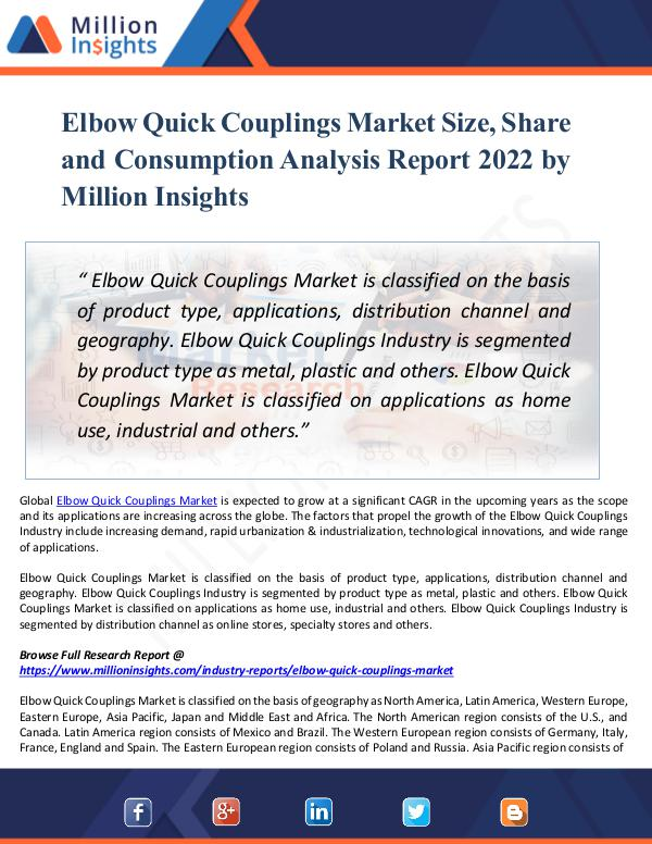 Market New Research Elbow Quick Couplings Market Size, Share by 2022