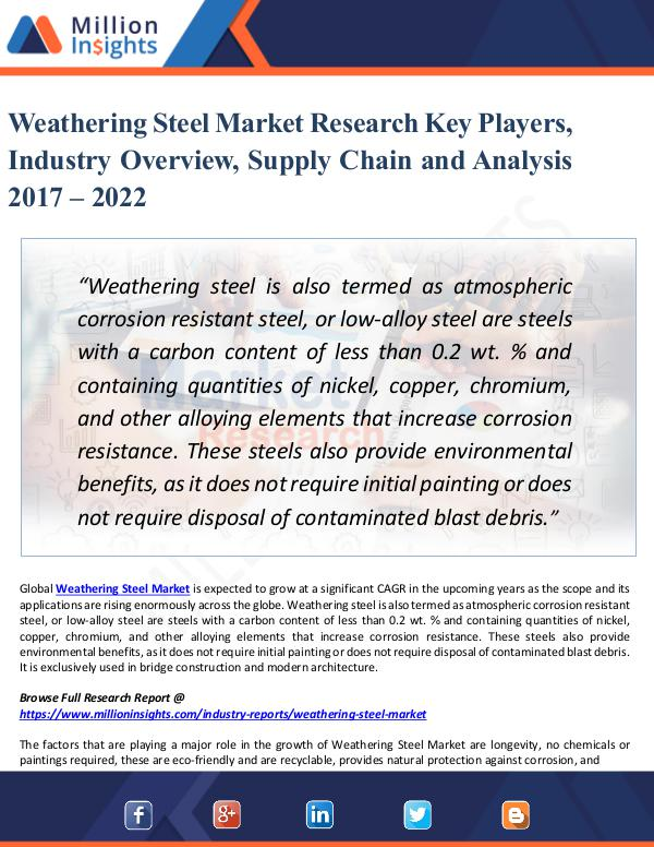 Market New Research Weathering Steel Market Research Key Players 2022