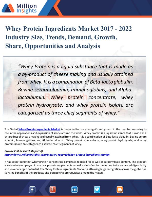 Market New Research Whey Protein Ingredients Market 2017 - 2022 Trend