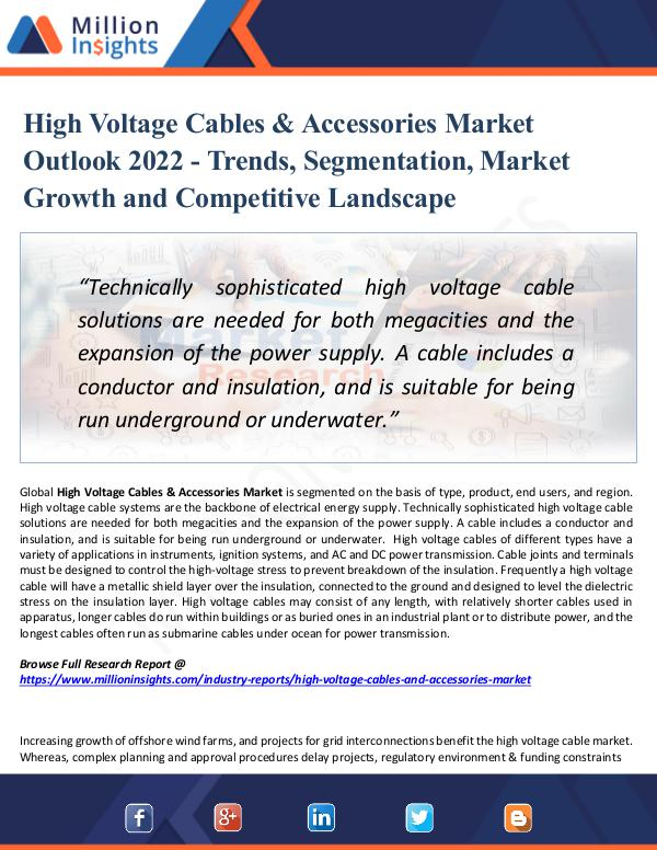Market New Research High Voltage Cables & Accessories Market 2022