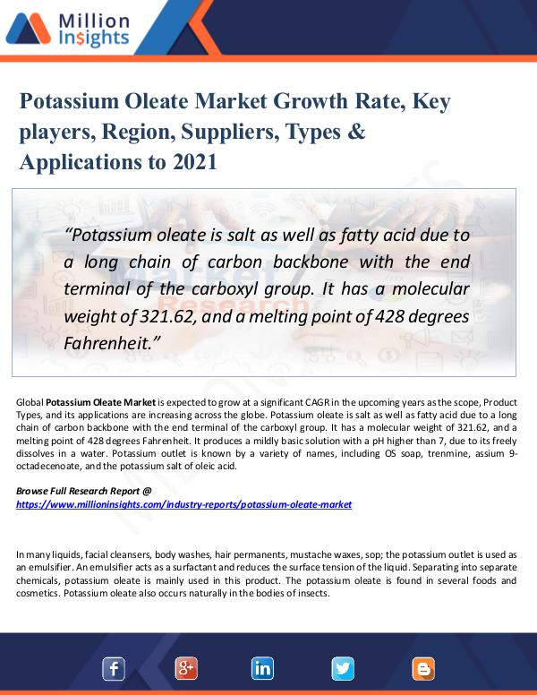 Market New Research Potassium Oleate Market Growth Rate, 2021