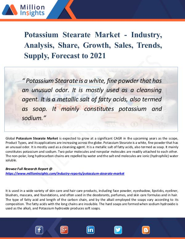 Market New Research Potassium Stearate Market - Industry,Analysis 2021