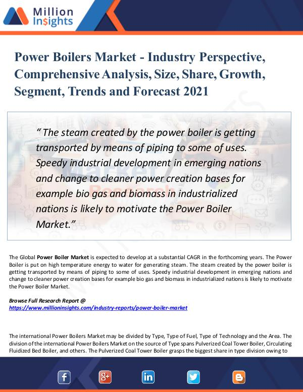 Market New Research Power Boilers Market - Industry Perspective 2021