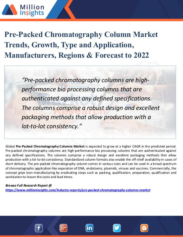 Market New Research Pre-Packed Chromatography Column Market Size 2022