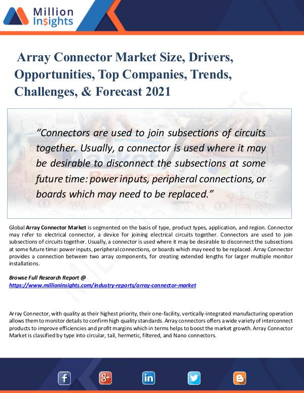 Market New Research Array Connector Market Size, Drivers, 2021