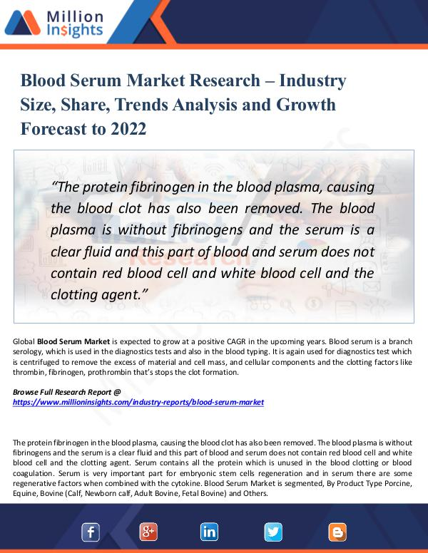 Market New Research Blood Serum Market Research -Size, Share 2022