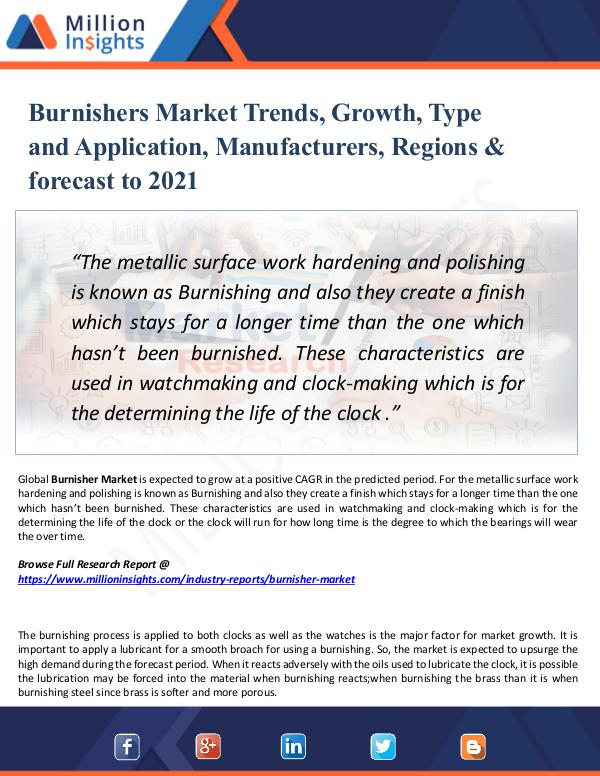 Market New Research Burnishers Market Trends, Growth, Type 2021