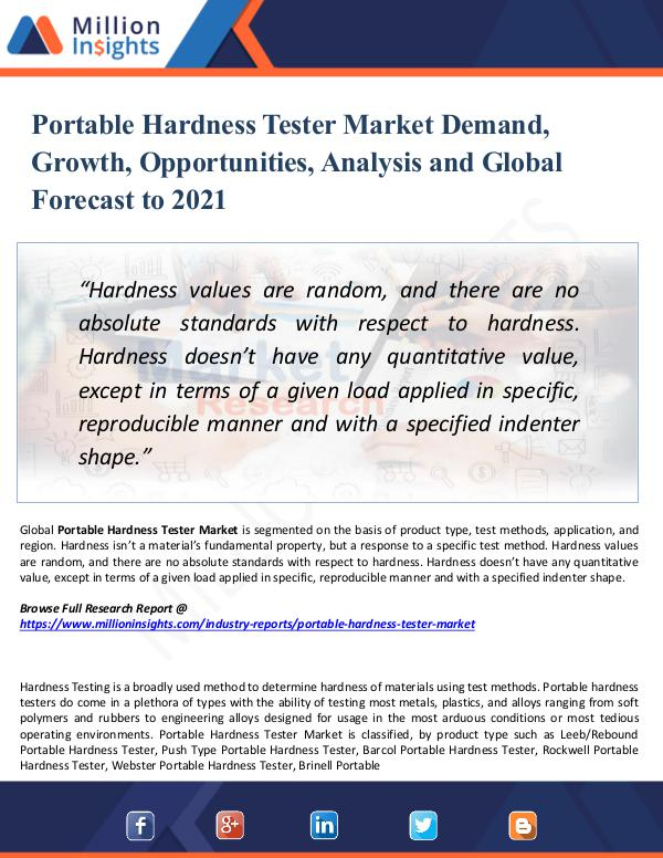 Market New Research Portable Hardness Tester Market Demand,Growth 2021