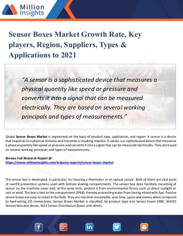 Market New Research Sensor Boxes Market Growth Rate, Key players, 2021
