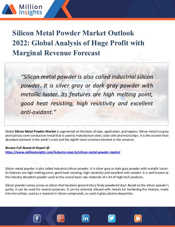 Market New Research Silicon Metal Powder Market Outlook 2022- Growth