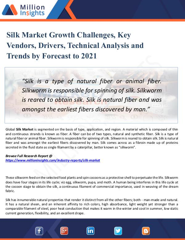 Market New Research Silk Market Growth Challenges, Key Vendors, Driver