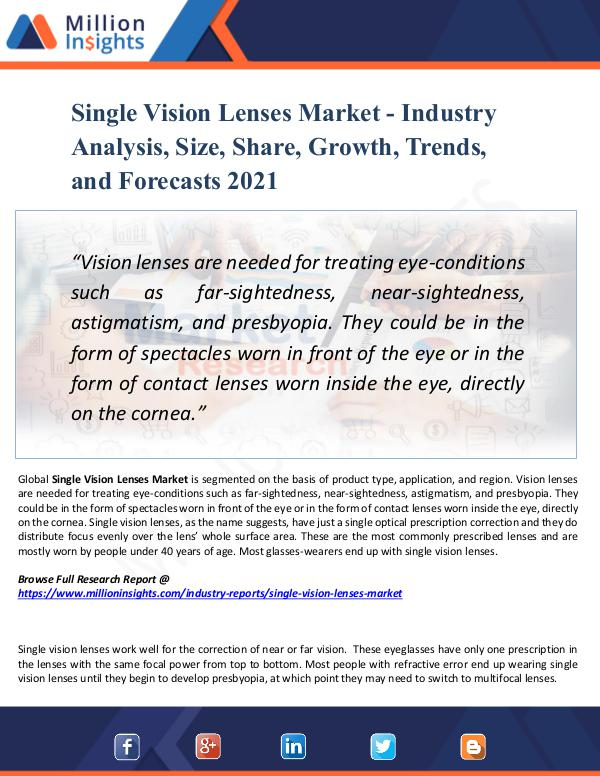 Market New Research Single Vision Lenses Market  Analysis, 2021