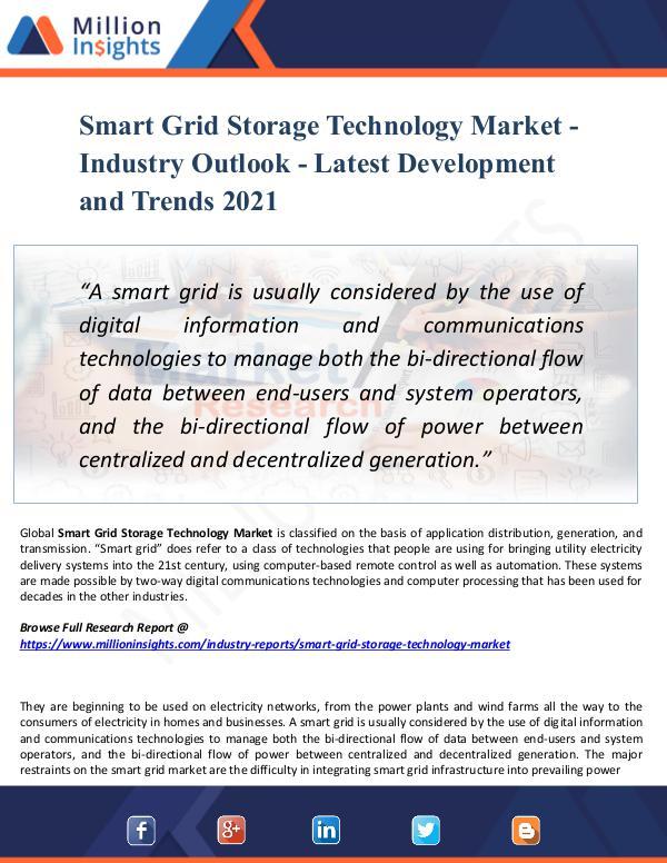 Market New Research Smart Grid Storage Technology Market - 2021