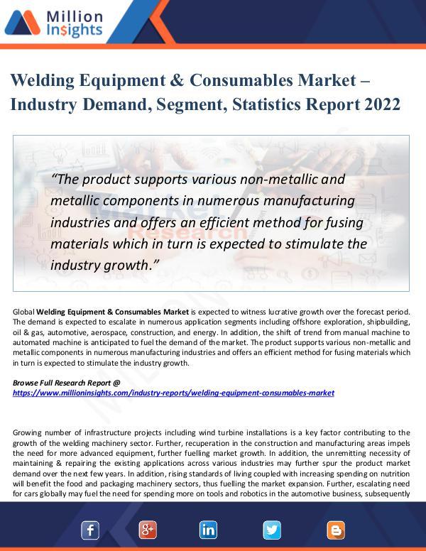 Market New Research Welding Equipment & Consumables Market- 2022