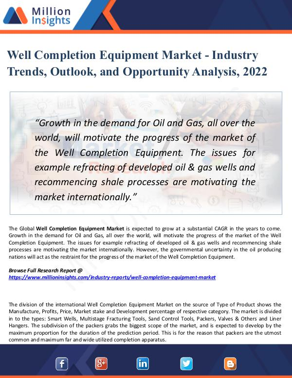 Market New Research Well Completion Equipment Market - Industry 2022