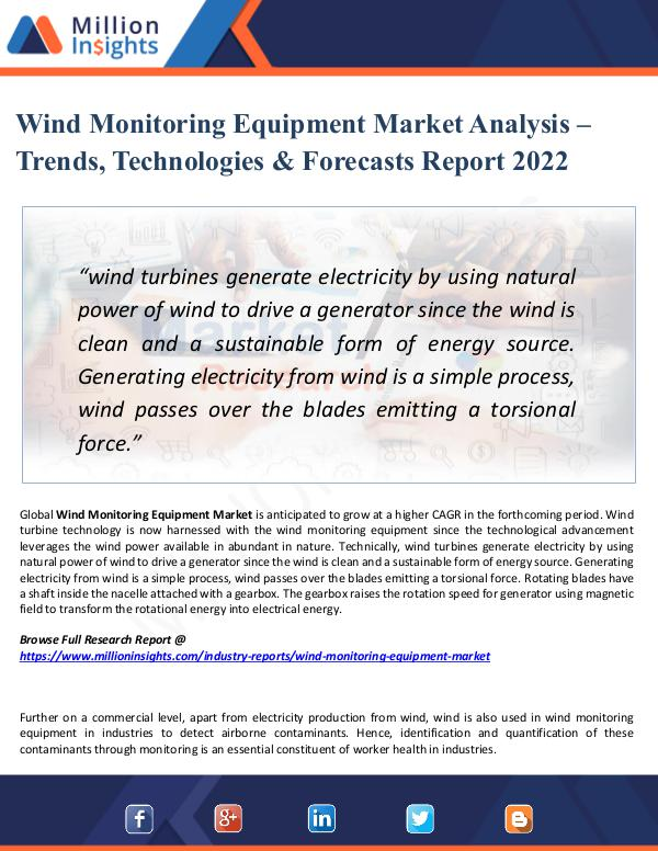 Market New Research Wind Monitoring Equipment Market Analysis - Trends